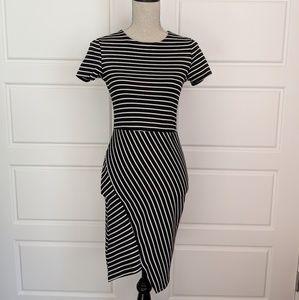 Zara Striped Asymmetrical Hem Dress